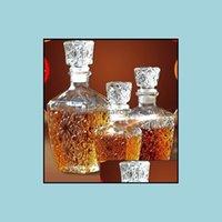 Hip Flasks Drinkware Kitchen, Dining Bar Home & Garden1Pc Glass Whiskey Liquor Drinks Decanter Crystal Bottle Wine Carafe Gift 250Ml 500Ml D