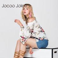 Jocoo jolee women off off flay blouse сексуальная полная бабочка рукав цветочные принт топ Свободные урожая топы повседневные Tee Beach милая рубашка женская блузка