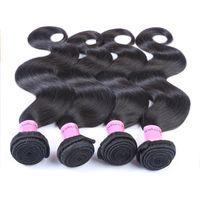 Remy Human Hair Bundles 1B Color 10-30 inches Indian Peruvian Malaysian Hair Weaves 4 Bundles Body Wave