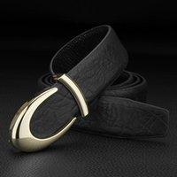 Belts High Quality U Letter Designer Men Genuine Leather Slide Buckle Waist Strap Full Grain Fashion Cintos Masculinos