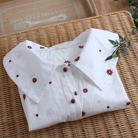 Sunflowers Embroidery Sweet Peter Pan Collar Single Breasted White Long Sleeve Cotton 100% Kawaii Shirt Blouse 210506