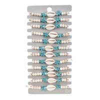 12 adet Moda Takı Charm Bilezikler Set Ayarlanabilir Kabuk Turkuaz Ahşap Boncuk Denizyıldızı Dokuma Bilezik Hayvan Tasarım Kadınlar Için Ahşap Boncuklu Mücevherat Hediyeler