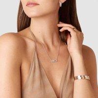 925 Sterling Silber Brand Messia Halskette Armband Französisch Drei Diamant Move Serie Rose Gold Überzogene Feinschmuck für Frauen Y0330