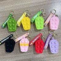 50%off Mini Bubbles ICE Cream Keychain Popper Bag Sensory Rubber Silicone Purses Cute Shape Key Ring Fidget Push Pop Bubble Puzzle Cases Wallet Coin Bags gift E105