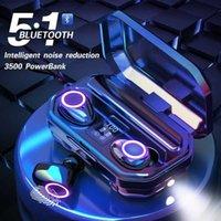 3500mah Power Bank Bluetooth Earphone Blutooth 5.1 with Flashlight Wireless Headset Microphone Ear Buds In-ear Headphones