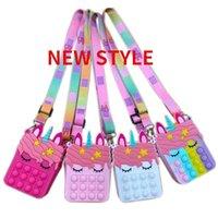 DHL Fidget Pops Sensory Bubble Bretelle Shoulder Bag 핸드폰 스트랩 손가락 푸시 폰 파우치 케이스 변경 동전 지갑 압축 해제 유니콘 장난감 소녀를위한 아이들