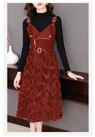 Tileewon Spring / Otoño Señoras de vestido Juego de vestido con chaleco Larga Vintage Oficina Dama Dos piezas Trajes de Mujeres