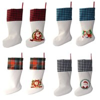 Sublimation Buffalo Plaid Christmas Stocking 4 Couleurs Blank Halloween Candy Socks Santa Cadeau Sac de cadeau de Noël Orientation d'arbre de Noël 922 B3