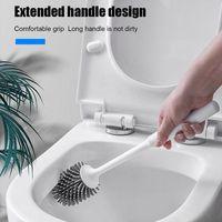 فرشاة المرحاض سيليكون رئيس تنظيف الدائمة مقبض طويل الجدار شنقا فرش للحمام حمام مجموعة التبعي