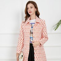 Women's Trench Coats 2021 autumn new straight womens single breasted British style medium and long coat letter printing fashion versatile windbreaker