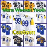"مخصص 9 Matthew Stafford 99 Aaron Donald Los Mense Angeles Football Rams ""Jersey Cooper Kupp Todd Gurley II Jalen Ramsey Cam Akers Cam Akers روبرت وودز النساء الشباب"