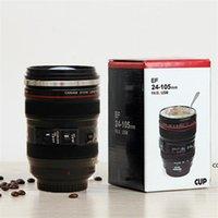 Creative 6th Generation 400ml Revestimiento de acero inoxidable de acero inoxidable cámara de café Taza de lentes Tazas con tapa de capucha LANIAM DHA7432