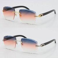 Cinzelando vendendo sem aros c chifre preto óculos de sol óculos 3524012 unisex condução lente decoração original ouro quadro de metal bufft tlft