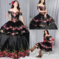 2021 Nero Nuovo Gothic Quinceanera Abiti Charro Gonna rimovibile floreale ricamato dalla spalla Sweet 16 Dress Tema messicano Plus Size