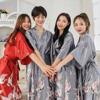 Sexy damas pijamas hembra verano hielo seda seda manga mayor tamaño en la simulación baño vestido de la mañana fabricante para mujer ropa de dormir