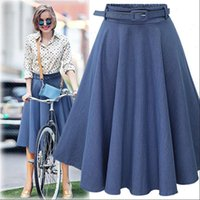 Women Denim Womens Skirts Jeans Summer Autumn Casual High Elastic Waist A line Skirt Streetwear Midi Pleated