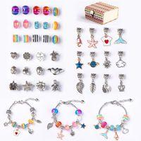 Crystal Charms Cartoon Bamboo Box Set High Quality Bead Charm Bracelet Lobster Bracelets Bangle Diy Jewelry For Women Gift