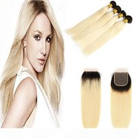 Renk 1B 613 # Sarışın İnsan Saç Dokuma 3 Demetleri Ile Ücretsiz Bölüm Dantel Kapatma Platinum Ombre Brezilyalı Sarışın Düz Remy Saç Uzantıları