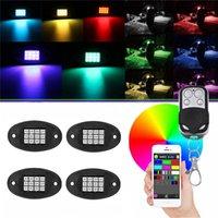 RGB освещение светодиодные рок подсветленные легкие Bluetooth телефон / дистанционное управление синхронизацией мигающий музыкальный многоцветный неоновый IP67 водонепроницаемый для автомобилей внедорожников автомобилей ATV