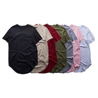 Fashion High Quality Extended T-Shirt Men Summer CP Curved Hem Longline Hip Hop Tshirts Urban Blank Mens Tee S