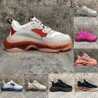 2021 Sapatilhas de moda Clear Sole Triple S Dad Sapatos Casuais Homens Plataforma de Mulheres 17Fw Paris Vintage Velho Cristal Bottom Triple-s Designer Esportes M6YO #