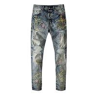 Americano famoso marchio Amr Graffiti stampa jeans strappati pantaloni da uomo pantaloni da uomo pantaloni streetwear vestiti da uomo jeans per uomo