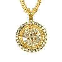 Pendant Necklac Hip Hop Personality Fashion Brand Necklace Inlaid with Diamond Dollar Pendants Necklac Nightclub Accsori