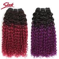 Human Hair Bulks Sleek Brazilian Kinky Curly Weave Bundles Double Drawn Remy Bunldes Deal Blue And Purple Ombre Extension