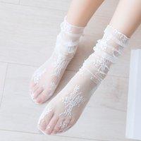 Fashion Summer Sexy Retro Lace Floral Mesh Women Girl Socks Elastic Lady Soft Short Socks Female Crystal Silk Ultrathin sock