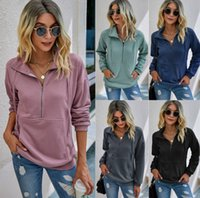 Womens Casual Sweatshirts Long Sleeve Lapel Zipper Hoodie Sweatshirt Drawstring Loose Pullover Tops with Front Pockets