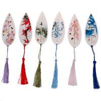 Bookmark mignon élégance classique Creative Tassel Creative Wind Chinois Collectibles Naturels Feuilles Signets Vein Signets Papeterie