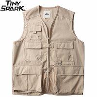 민소매 재킷 군사 티음 카고 조끼 망 하라주쿠 streetwear 멀티 포켓 힙합 양복 조끼 일본 스타일 210811
