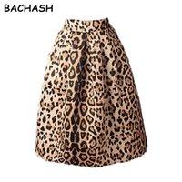 Skirts BACHASH 2021 Autumn Winter Women Vintage Satin Leopard Print Pleated High Waist A-Line Tutu Midi Skirt Size S-XL