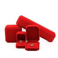 Caixas de armazenamento da exposição do armazenamento da exposição da exposição da exposição das jóias da jóia da cor vermelha para os pulseiras do colar de pingente anéis de pulseiras