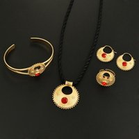 Earrings & Necklace Ethiopian Gold Color Pendant Earring Ring Bangle With Stone Trendy Women Jewelry Sets