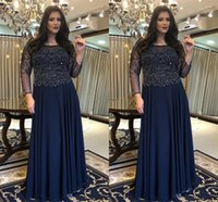 Amazing Navy Crystal Top Mother of the Bride Groom Dresses Jewel Neck Chiffon Long Illusion Sleeves Sequins Ruched Prom Evening Formal Gowns Plus size