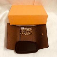 M60701 Designer de luxo 6 Titular chave Chave Bolsa França Famosa Mono Gram Canwers Brown Branco Checkered Chaveiro