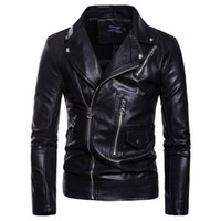 Motorcycle Leather Jacket Men Casual Biker Slim Fit Zippers ...