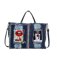 Evening Bags Sequined Badge Pattern Denim Female Totes Large Capacity Fashion Shopping Bag Casual Purses And Handbags For Women Shoulder