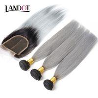 9a 1b / серый бразильский девственница плетения человека 4 пакета с верхним кружевным закрытием прямые оммре перуанские малазийские индийские камбоджийские волосы
