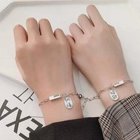 Link, Chain 2Pcs set Couple Magnet Attract Creative Bracelet Stainless Steel Friendship Men Women Charm Jewelry Lover Gift