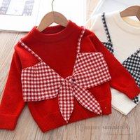 Christmas Crianças de malha pullover bebê meninas meninas xadrez laços falsificados dois peça princesa tops crianças rodada coleira de manga comprida camisola de manga-lume Q2553