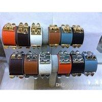 Роскошные дизайнерские браслеты преувеличенный широкий панк-ветер из нержавеющей стали четырех ногтей браслет женщины H браслет грубые кожаные браслеты