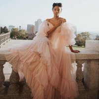 Pretty Blush Pink See Thru Tulle Prom Dresses Ruffles Tiered A-line Evening Gowns Puff Full Sleeves Women Long Robe Plus Size