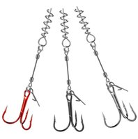 Fishing Hooks Lure Three Hook Spring Wire Softbait Tail Combination Packages Rig Trolling Accessories High Quality YJ0023