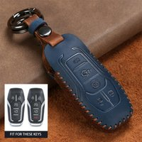 Classic Leather Car Key Case Cover For Ford Mustang Fusion F-450 F-550 Edge Expedition Explorer F-150 Lincoln MKX MKC MKS Keychains