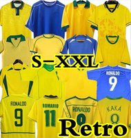 1998 2002 الرجعية Brasil Soccer Jerseys 1988 91 Carlos Romario Ronaldo Ronaldinho 2004 Camisa de Futbol 1994 البرازيل 2004 2006 1982 Rivaldo Adriano Pele Shirts