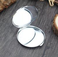 DIY Makeup-Spiegel Eisen 2 Gesichts-Sublimation leeres plattiertes Aluminium-Blech-Mädchen-Geschenk Kosmetischer Kompakter Spiegel