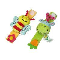 귀여운 만화 동물 장난감 부드러운 양말 손목 스트랩 세트 아기 소년 소녀 딸랑이 어린이 유아 신생아 플러시 장난감 아기 아이 장난감 1327 Y2