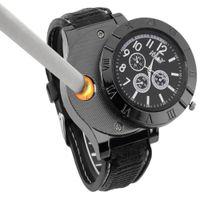 Creative eletrônico cigarro isqueiro relógio de pulso para homens usb carregando relógios de pulso multifunções de silicone quartzo falso relógio de três olhos